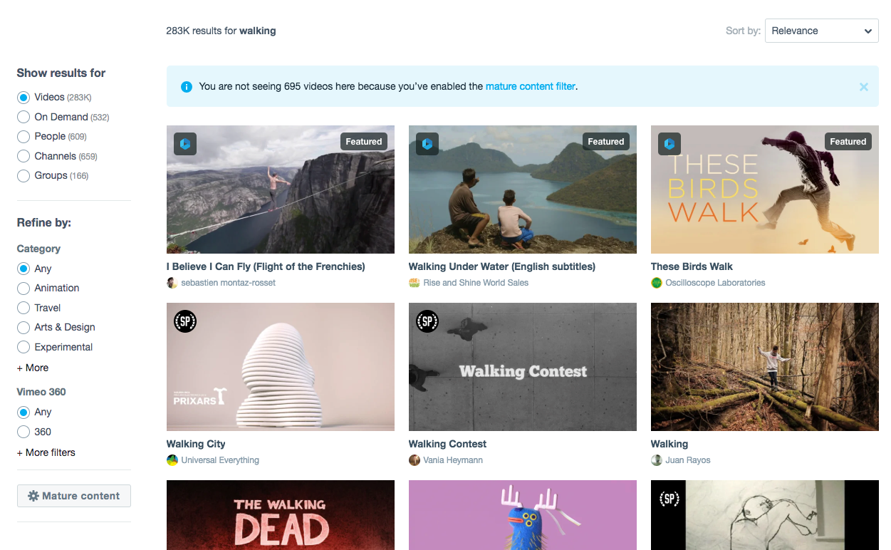 Search for clips and users  - Vimeo Blog