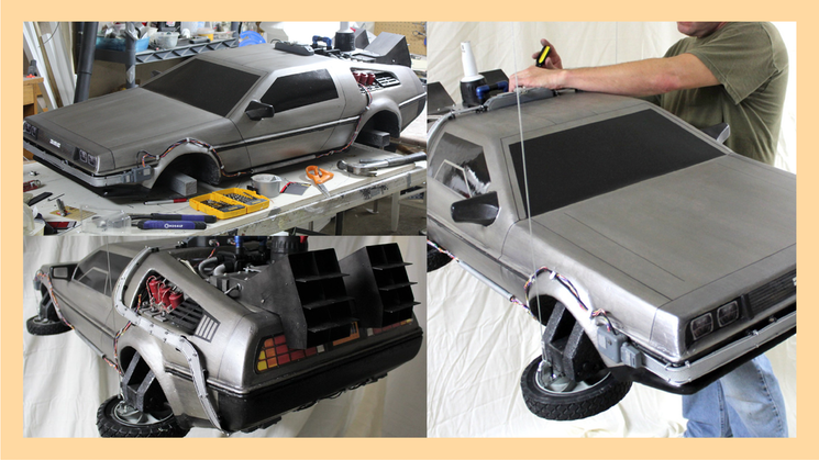 A collage of images from the Dolorean model from Back to the Future II hanging by fishing line against a white backdrop, and a photo of it on the design table getting assembled.