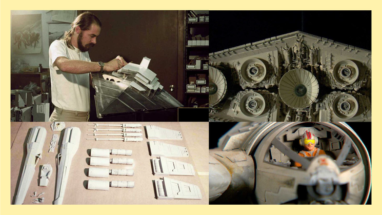 On set of Star Wars in the 70s, a SFX specialist constructs a miniature spaceship