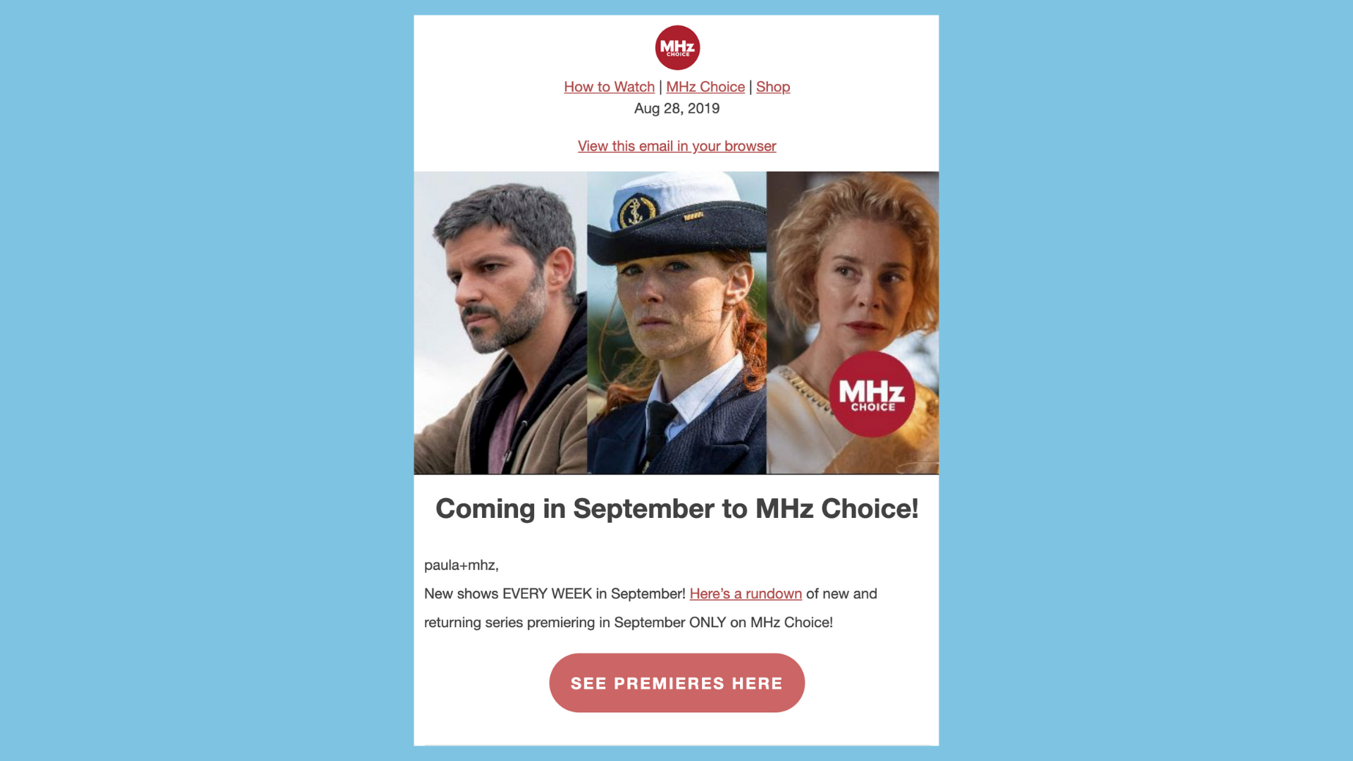 MHz Choice OTT email example
