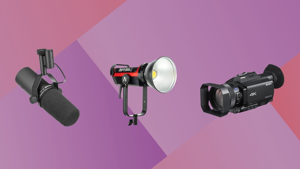 Image of a professional grade light, camera, and microphone