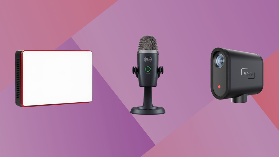 Image of a light, camera, and microphone for beginner live streaming