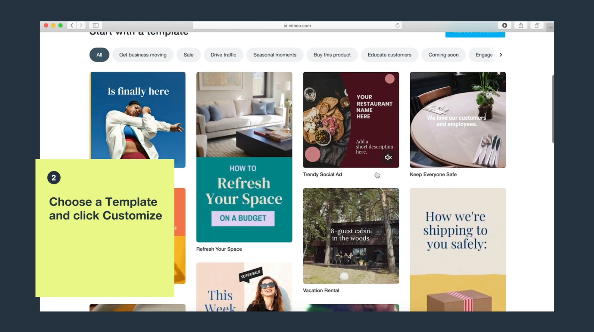 Vimeo Create template library interface