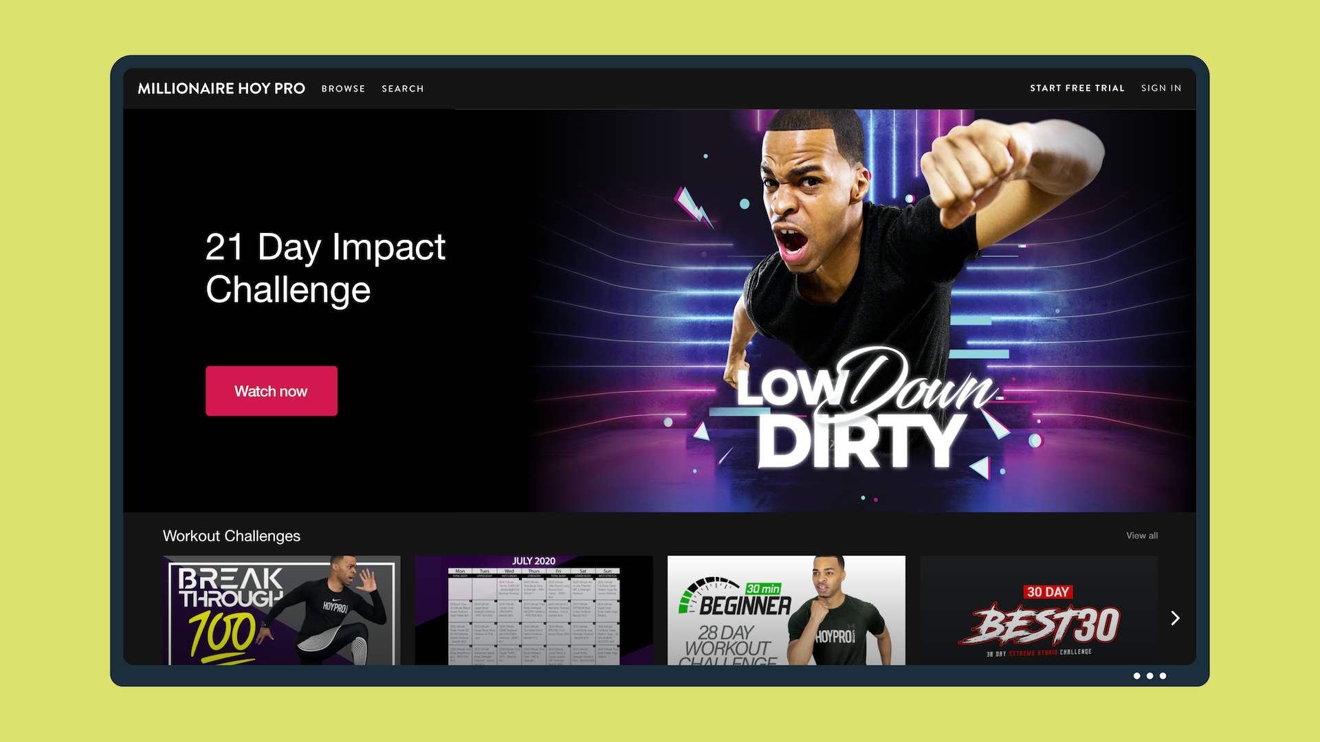 An image of Millionaire Hoy's Vimeo OTT fitness channel