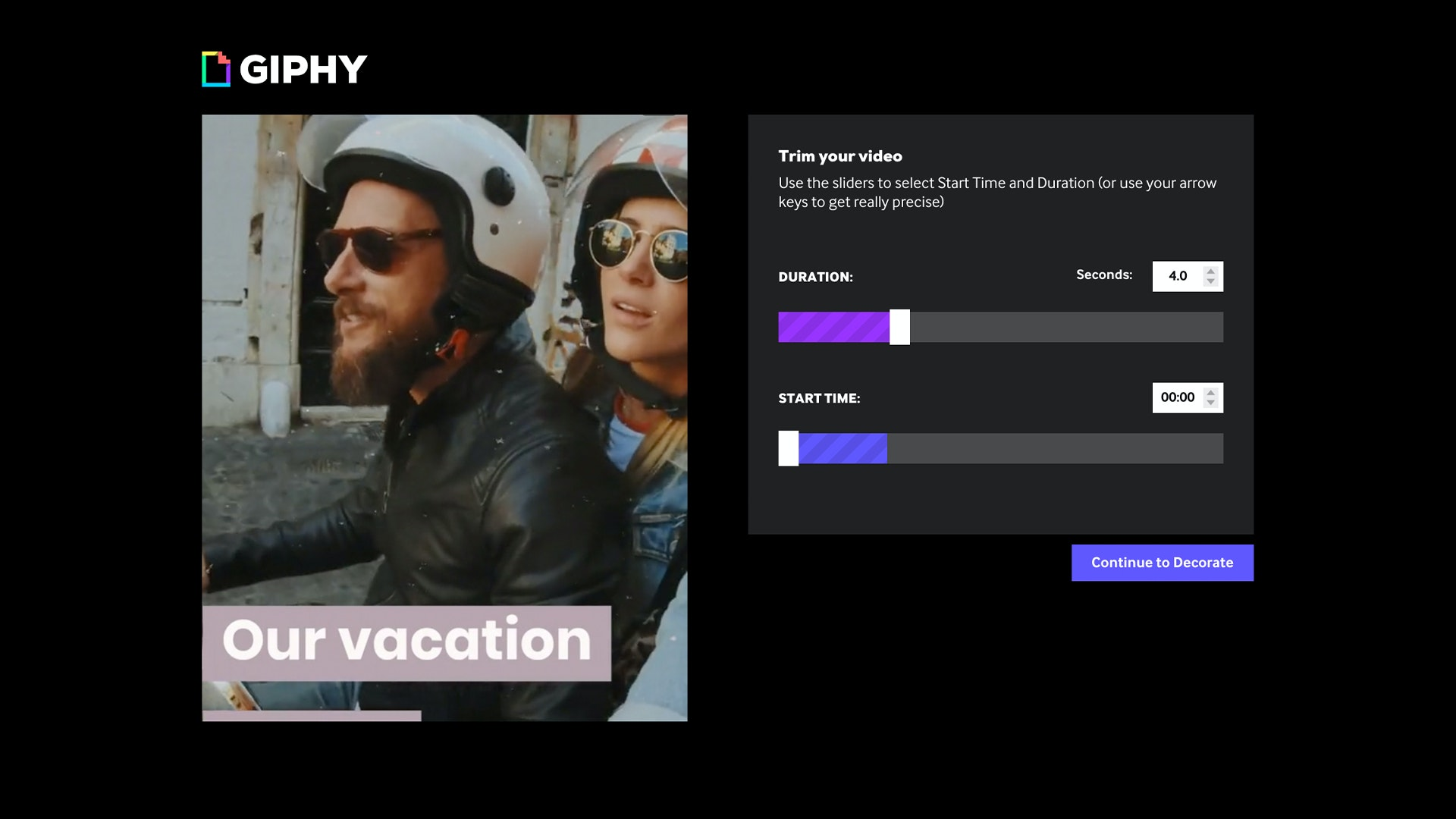 GIPHY create trim your video UI