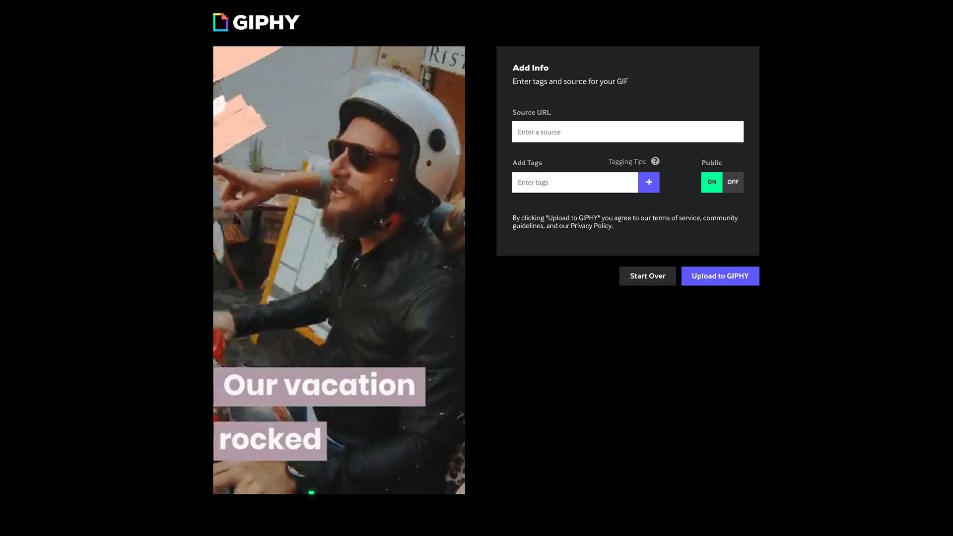 GIPHY create GIF info UI