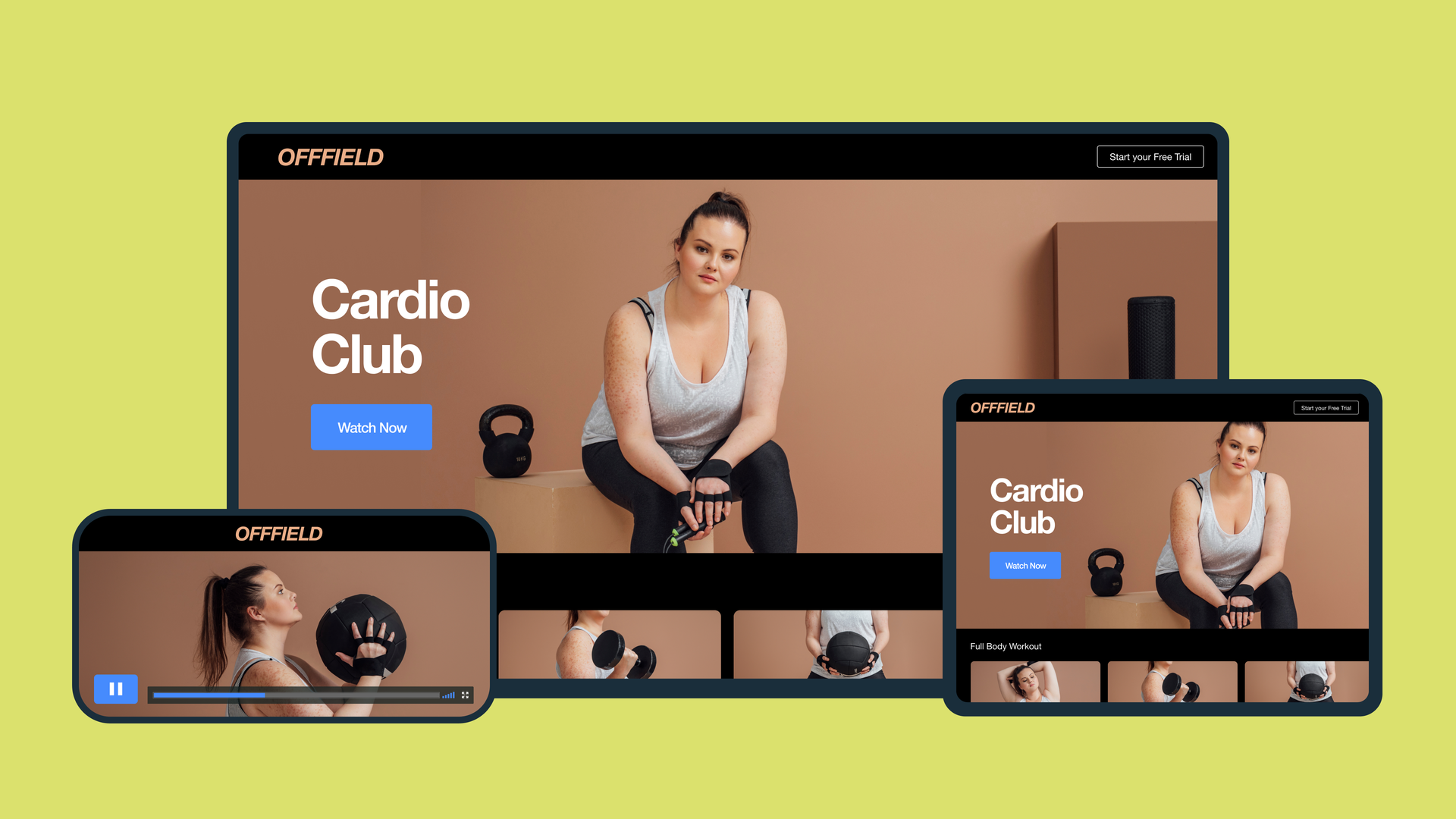 Online paid fitness app on desktop, phone, and tablet.