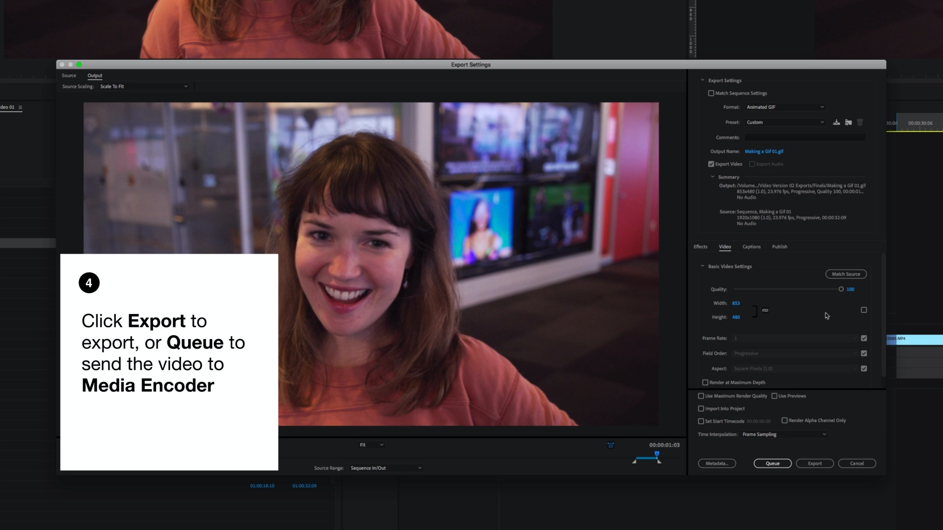 Adobe premiere export page
