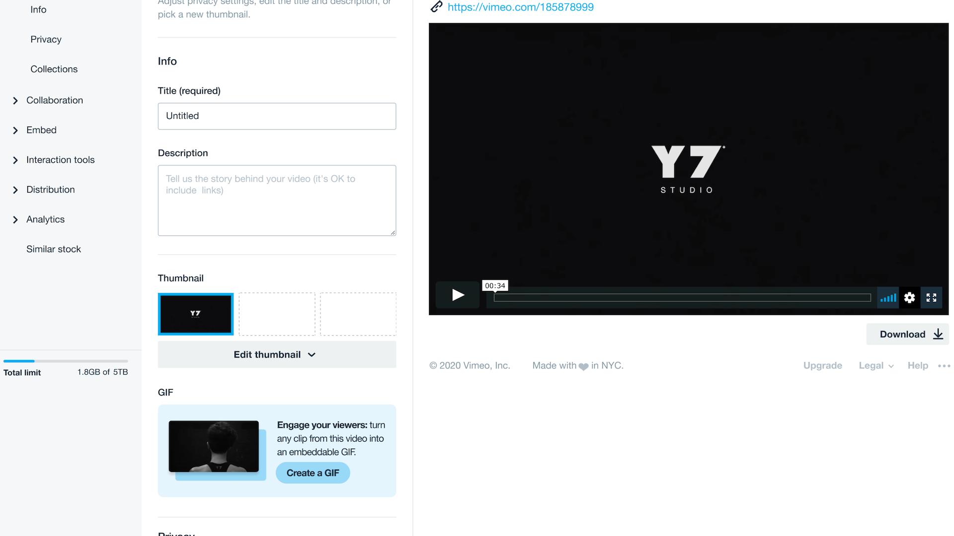 vimeo video settings interface