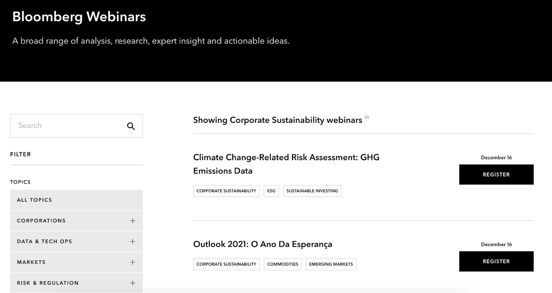 Screenshot of Bloomberg webinar series dived by topic