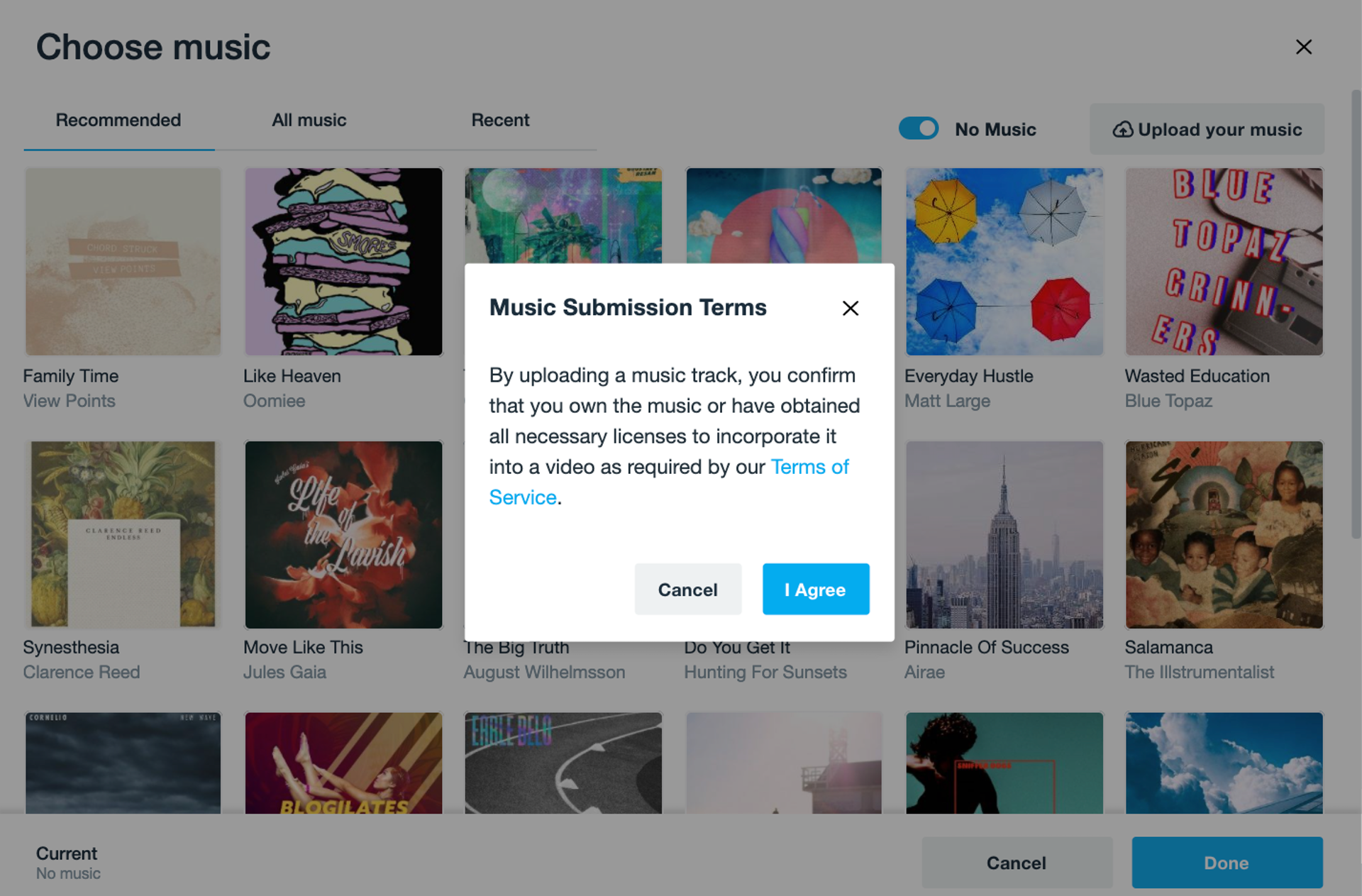 Music library in Vimeo Create