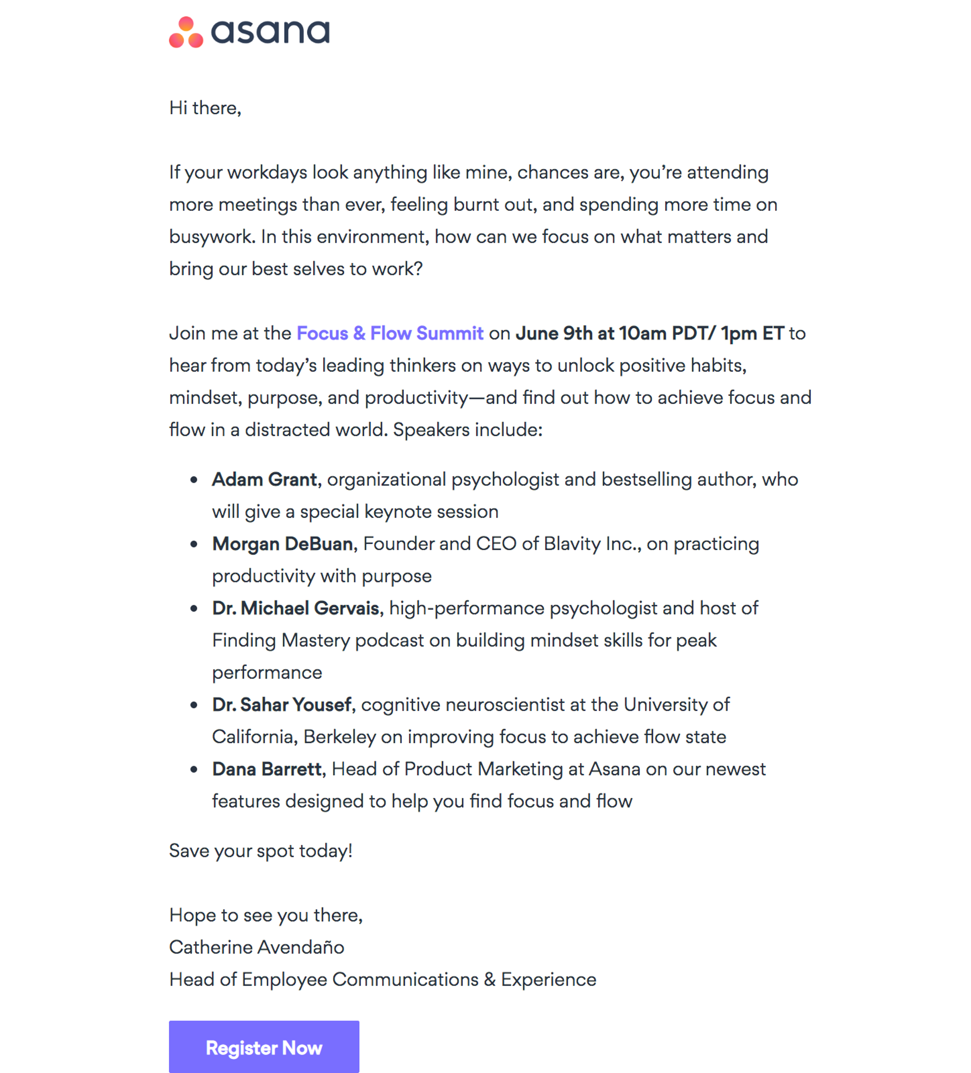 Webinar invitation example from Asana that focuses on well crafted copy that targets their audience.
