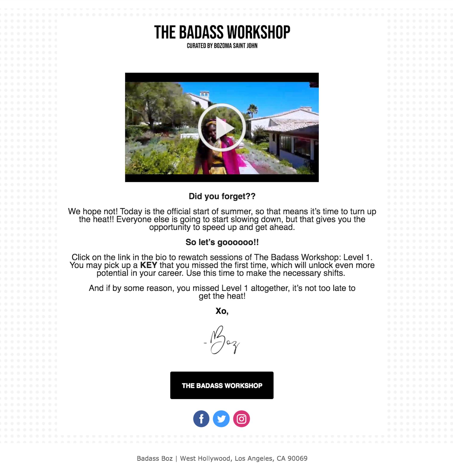 Webinar invitation email from The Badass Workshop.