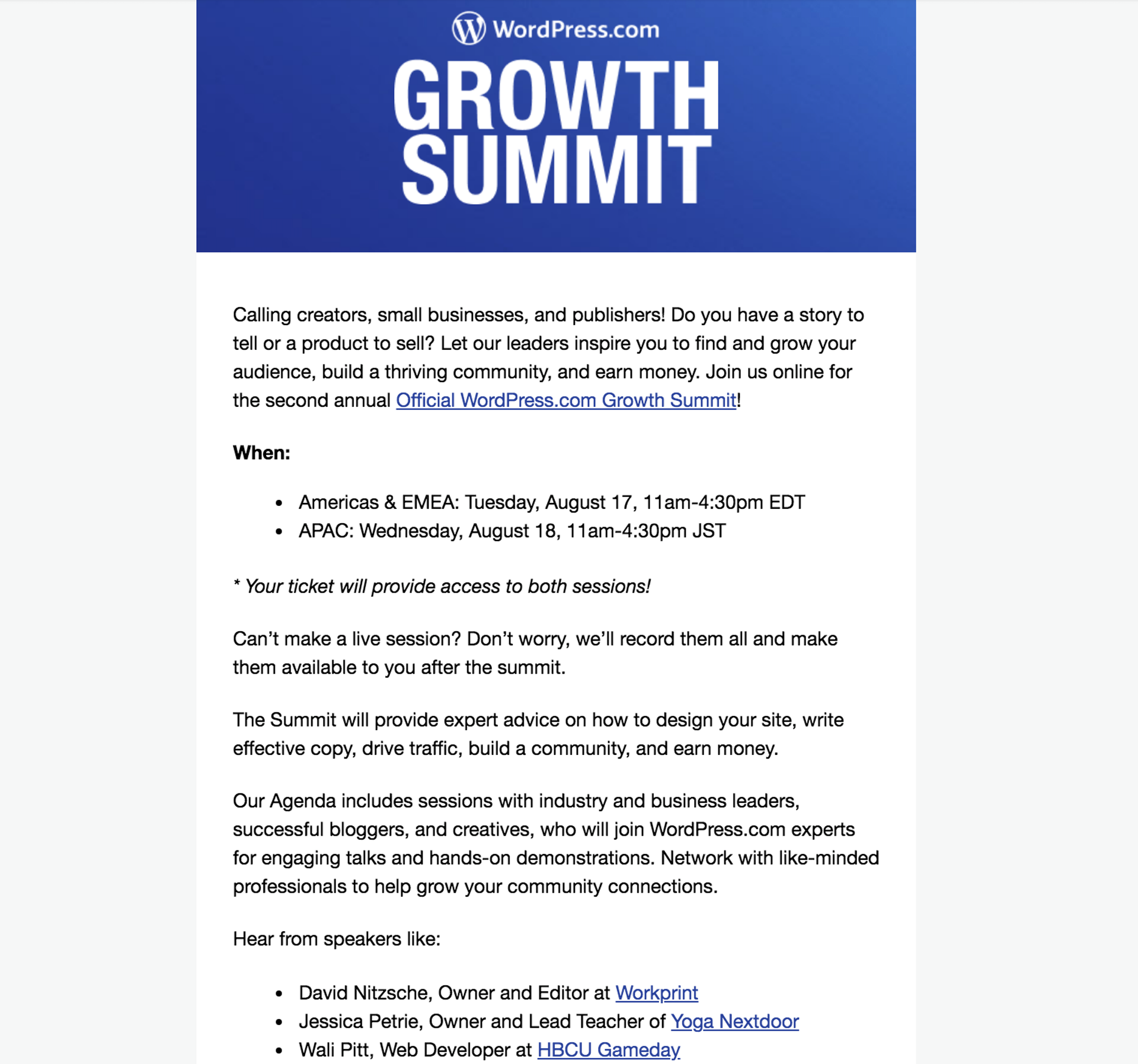 Webinar invitation example from WordPress Growth Summit event in 2021.