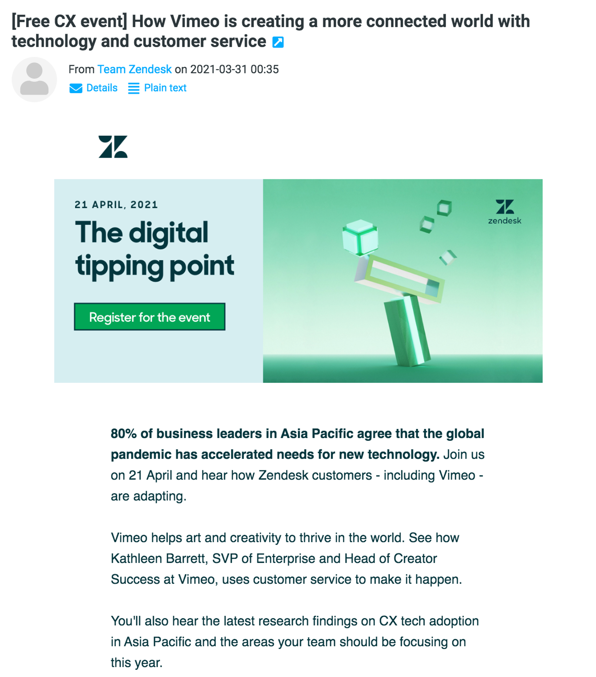 Webinar invitation email example from Zendesk.