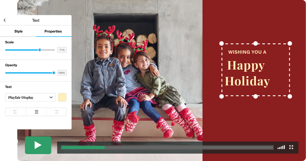 """A paused video screen being edited in Vimeo Create includes a photo of three smiling children wearing red and green reindeer ears and red socks. Text on the screen reads """"Wishing you a Happy Holiday."""""""