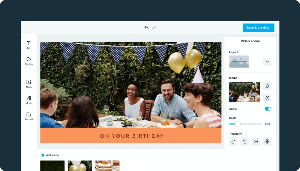 Vimeo video editor, creating a birthday party video
