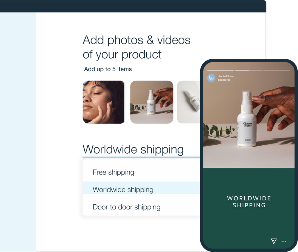 Add photos and videos of your product and shipping options
